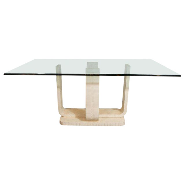 Mid-Century Modern Tessellated Stone and Glass Dining Table by  Maitland-Smith