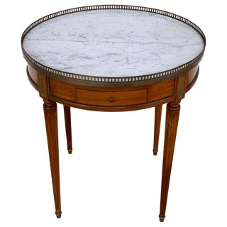 Louis XVI Style Carrera Marble-Top Bouillotte Table, Stamped Made in France For Sale