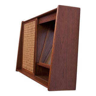 Danish Modern Teak and Cane Wall Mounted Mirror or Hallway Cabinet For Sale