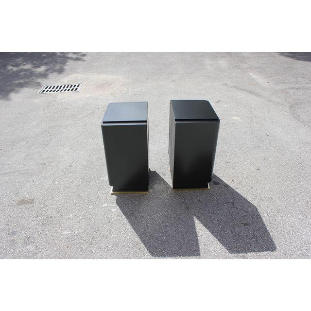 Classic Pair Of French Art Deco Parchment/ Ebonized Side Table / Nightstands, Circa 1940's - Image 8 of 11
