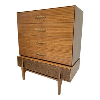 John Keal for Brown Saltman Mid Century Modern Tallboy Chest of Drawers For Sale
