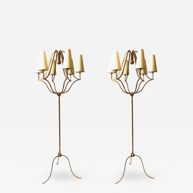 """Contemporary Jean Royère Exceptional Pair of Standing Lamp Model """"Jacques"""" For Sale - Image 3 of 3"""