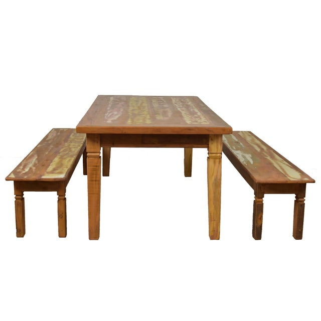 Complete your dining room with this one-of-a-kind antique look dining set. Rustic, this reclaimed wood table is handmade...