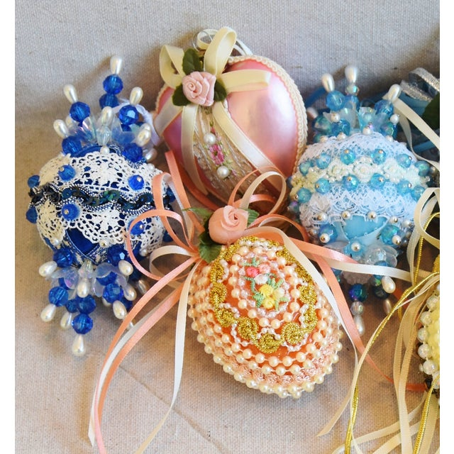 Adirondack Vintage Fancy Beaded Christmas Tree Ornaments - Set of 7 For Sale - Image 3 of 7