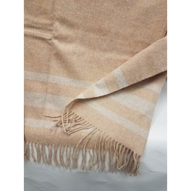 2020s Merino Wool Throw Light Salmon With Soft White Stripes - Made in England For Sale - Image 5 of 9