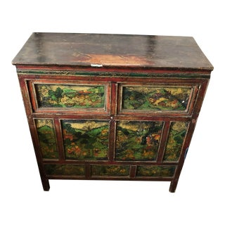Asian Antique Colorful Green Storage Cabinet For Sale