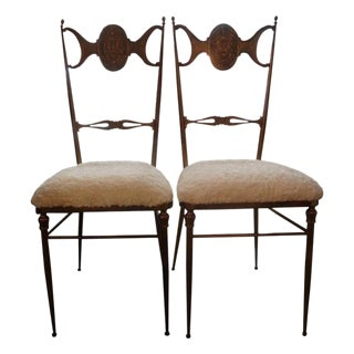Mid Century Italian Brass Chiavari Chairs- A Pair For Sale