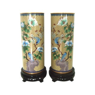 """Opposing Chinese Cloisonné Floral & Blue Bird """"Hat Stand"""" Cylindrical Vases With Rosewood Stands, a Pair For Sale"""