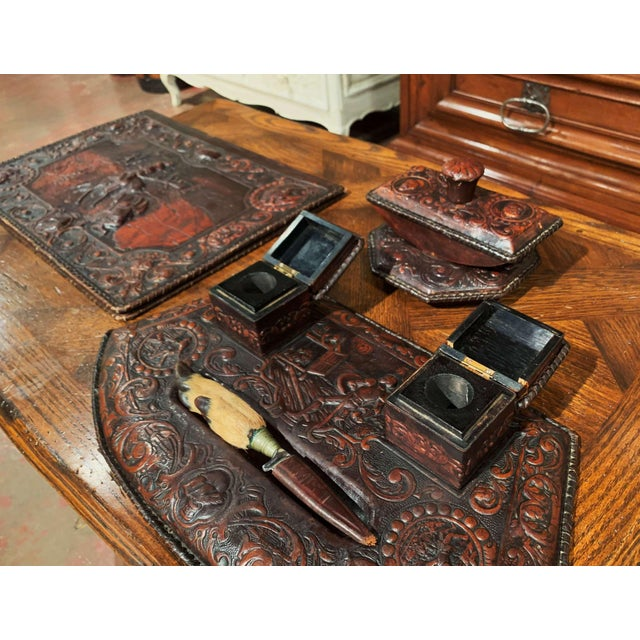 19th Century French Gothic Embossed Leather Five-Piece Desk Set For Sale In Dallas - Image 6 of 13