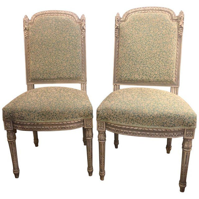 Pair of 19th-20th Century Paint Decorated Louis XVI Style Swedish Side Chairs For Sale - Image 13 of 13