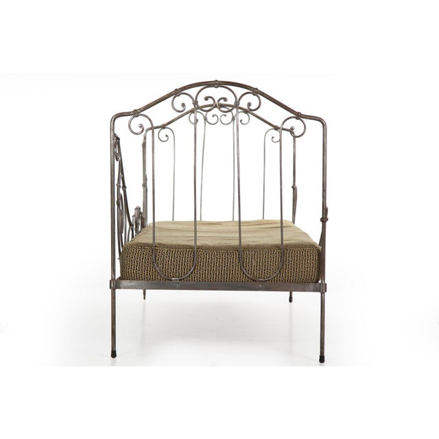 Antique French Wrought Iron Campaign Style Daybed Sofa For Sale - Image 4 of 13
