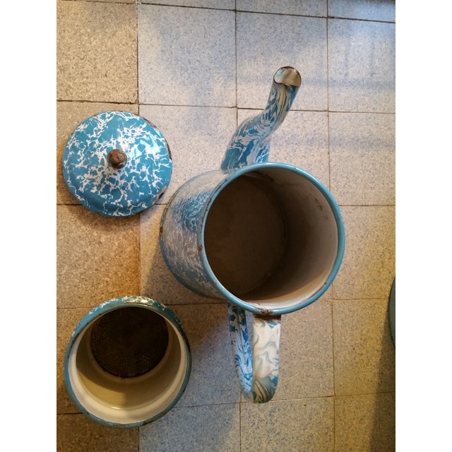 French French Enamel Coffee Pot For Sale - Image 3 of 4