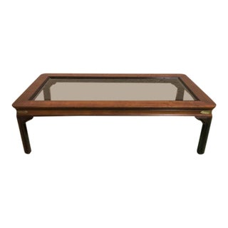 1900s Mid-Century Modern Glass Topped Mahogan Coffee Table For Sale