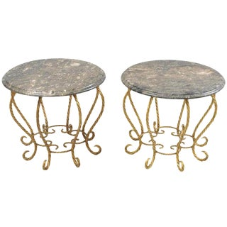 1960s Hollywood Regency Gold Gilt Iron Rope Round Marble Top Low Tables - a Pair For Sale
