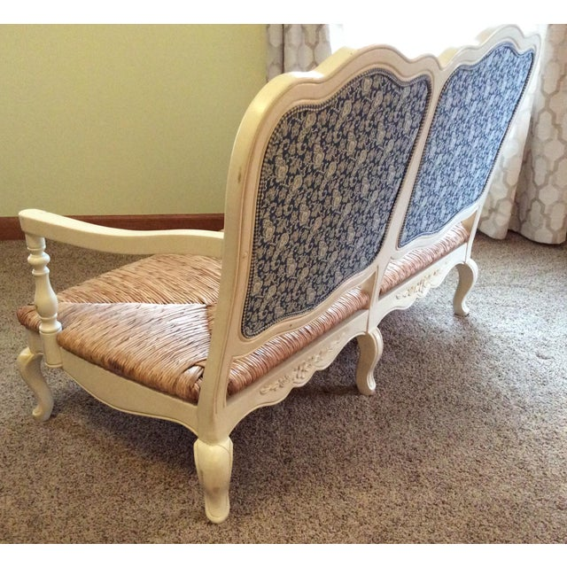 Antique Styled White Country French Provential Rush Seat Settee For Sale - Image 10 of 13