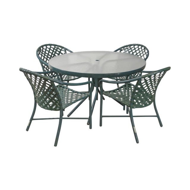 86e36a427d58d Brown Jordan Green Vinyl Strap Set of 4 Patio Dining Chairs W  Round Glass  Table