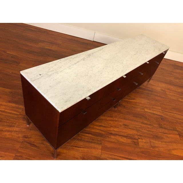 Florence Knoll Four Position Credenza With Marble Top For Sale - Image 9 of 13