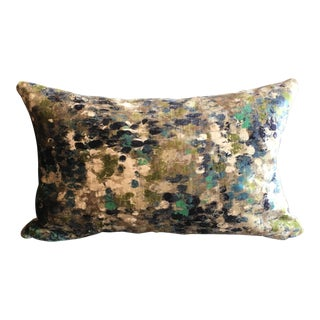 Abstract Expressionism Kravet Couture Painted Velvet Turquoise Lumbar Pillow (W/ Mushroom Velvet Backing) For Sale