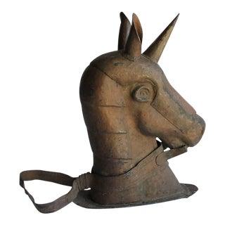Mid 19th C. Antique American Copper Carnival Ride Unicorn Head For Sale