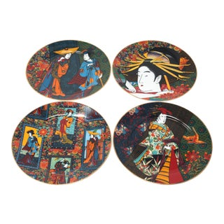 Vintage Indigo Geisha Plates by Punch Studio - Set of 4 For Sale