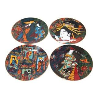 Vintage Indigo Geisha Plates by Punch Studio - Set of 4