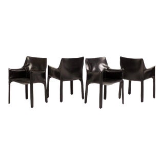Set of Four Mario Bellini Cab Armchairs for Cassina For Sale