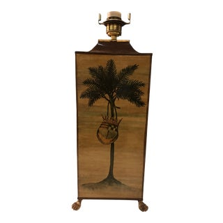 Vintage Palm Tree With Coat of Arms Table Lamp For Sale