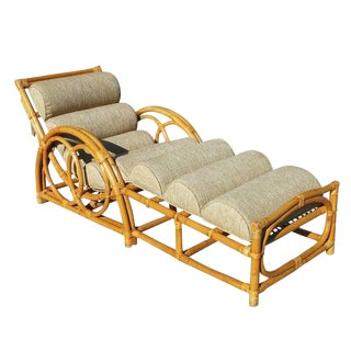 Restored Circles and Speed Arm, Rattan Chaise Lounge in the style of Paul Frankl For Sale