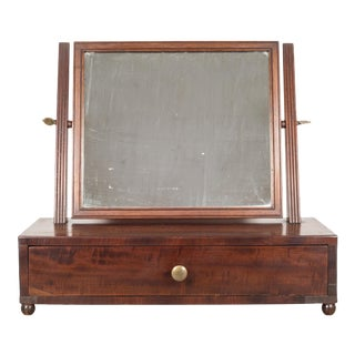 19th C. Mahogany Table Top Vanity Shaving Mirror C.1840-1870 For Sale