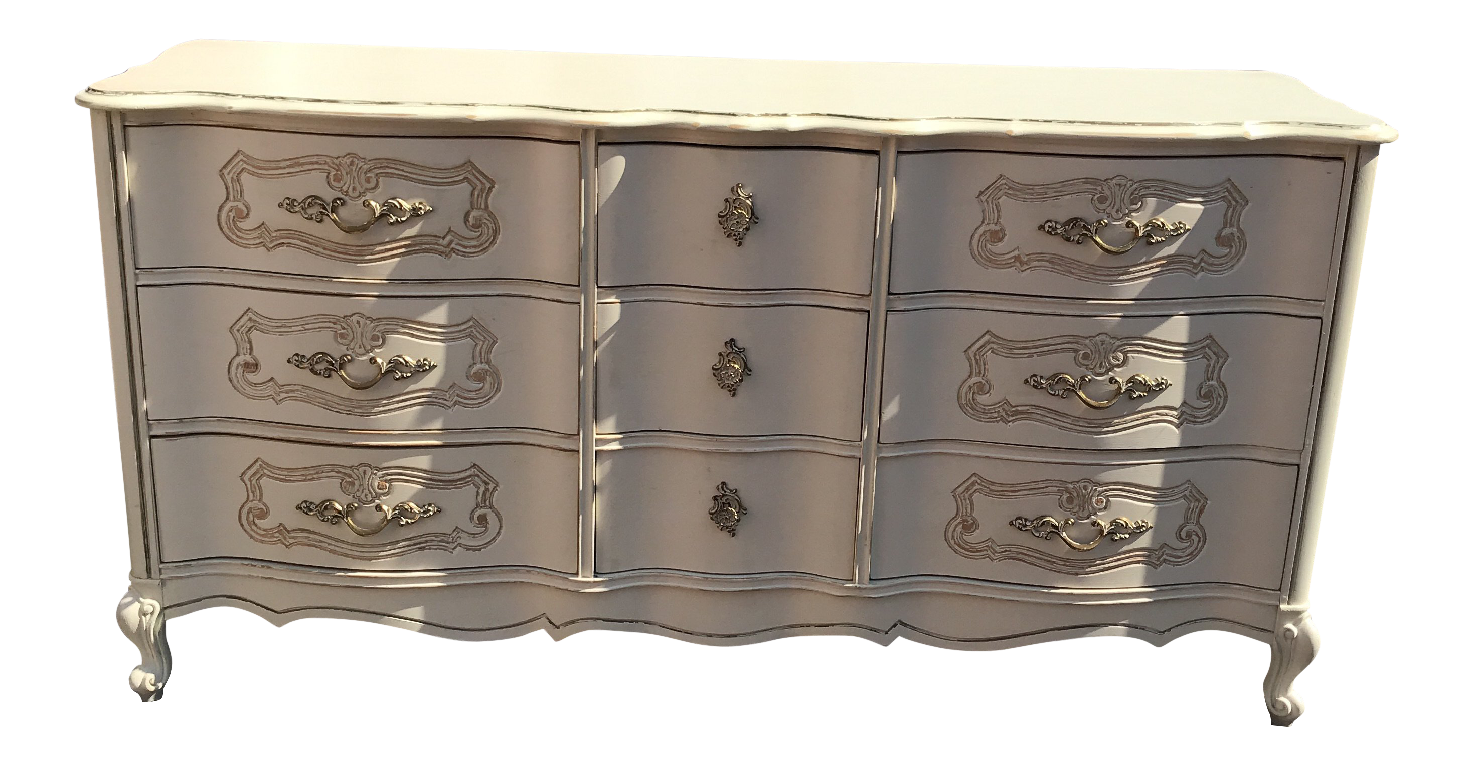 1970s French Provincial Bassett Furniture White Chest Of Drawers