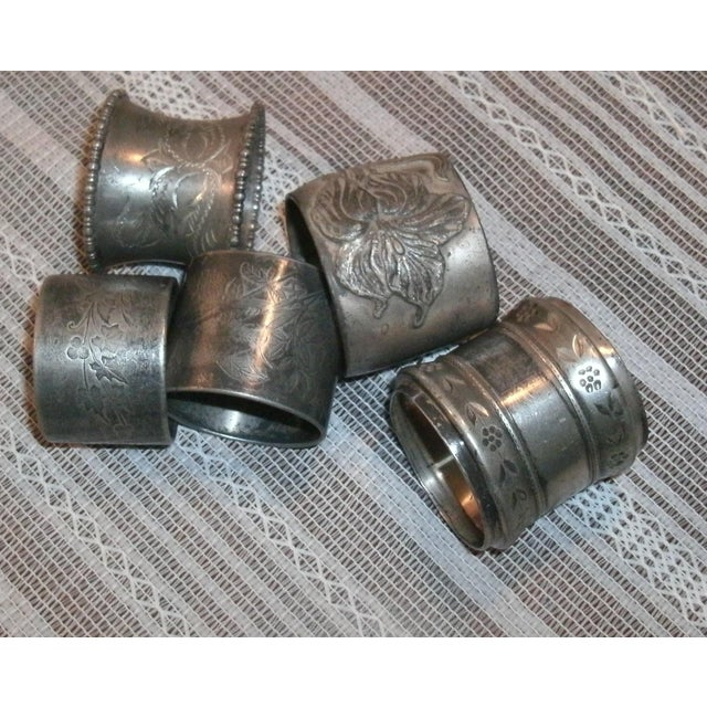 Assorted Victorian Style Silver Plated, Etc Ornate Napkin Rings - Set of 5 For Sale - Image 10 of 10