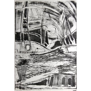 Jerry Opper Bauhaus Monochromatic Abstract Lithograph on Paper, Mid-Century For Sale