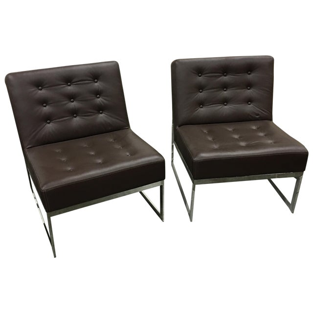 Drexel Heritage Leather & Chrome Chairs - A Pair - Image 1 of 6