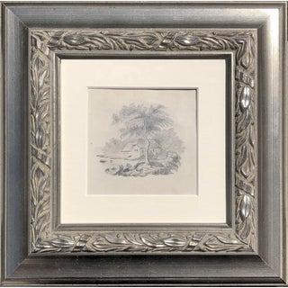 19th Century Antique English Graphite Cottage Landscape Drawing For Sale