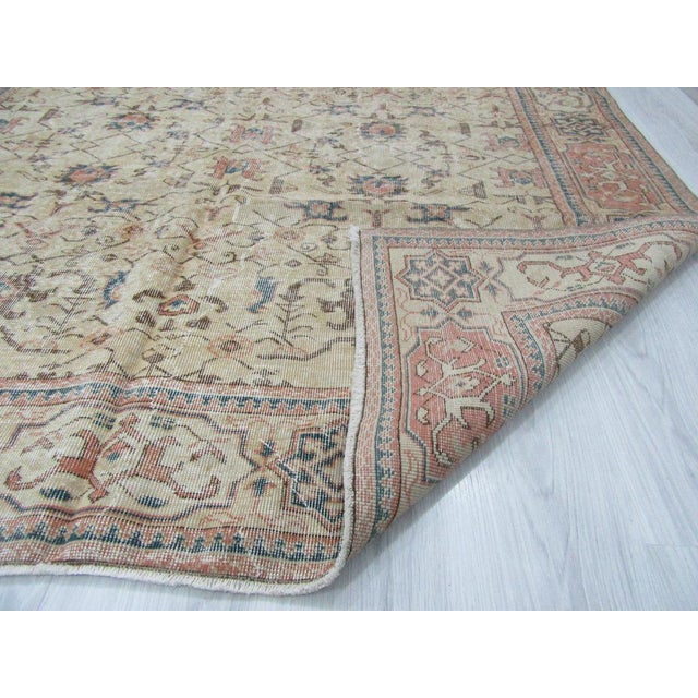 Vintage Turkish Oushak Distressed Rug- 6′7″ × 9′8″ For Sale - Image 9 of 12