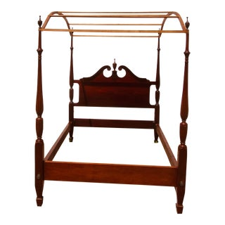 1940s Solid Mahogany Full Carved Posts Canopy Bed For Sale