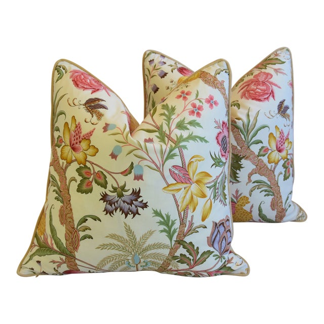 "Designer Cowtan Tout Arabella Floral Feather/Down Pillows 24"" Square - Pair For Sale"
