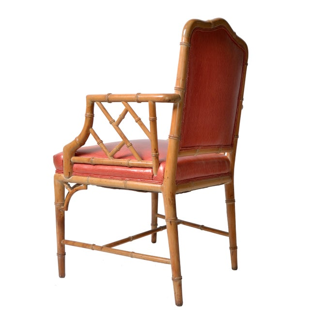 Faux Bamboo Chinese Chippendale Vinyl Chairs - Set of 8 - Image 4 of 10