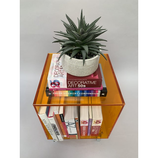 1990s Modern Translucent Orange Lucite Rolling Storage Cube/Side Table on Wheels For Sale - Image 10 of 11