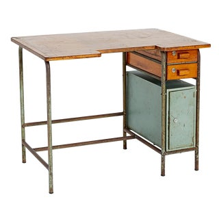 French Utilitarian Bauhaus Style Desk W/ Tubular Base Circa 1930s