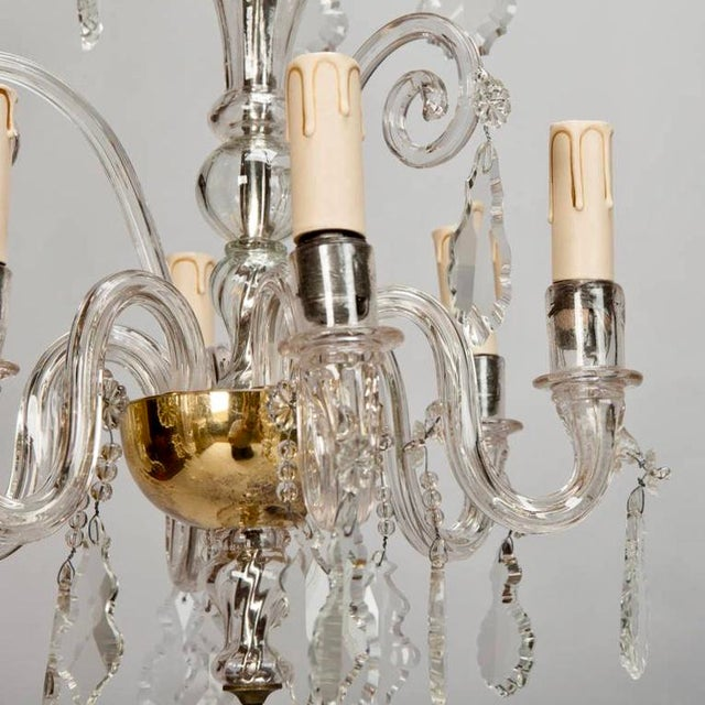 French Tiered All Crystal Six Light Chandelier c.1920 - Image 8 of 9