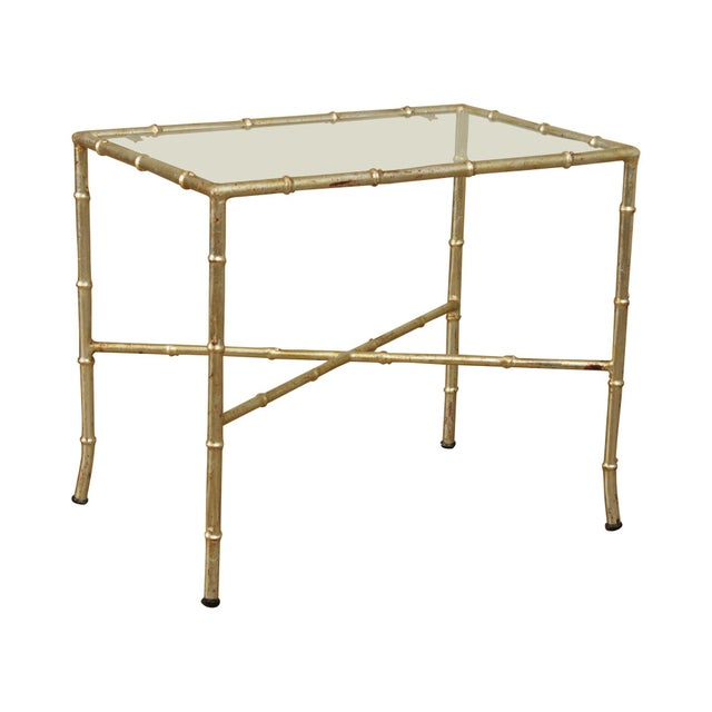 Hollywood Regency 1960's Silver Gilt Metal Faux Bamboo Glass Top Side Table For Sale - Image 11 of 11