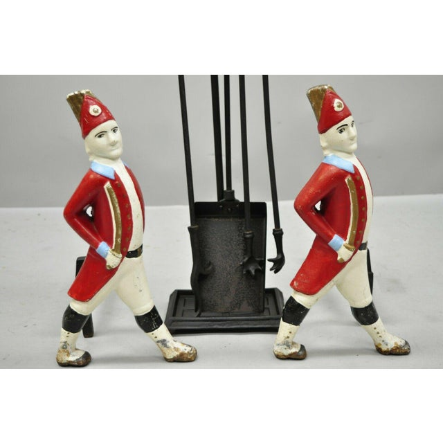 Vintage Hessian Soldier Fireplace Tool Set & Andirons For Sale - Image 4 of 10