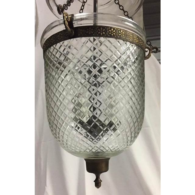 1970s Bell Jar Lantern With Etched Glass For Sale - Image 4 of 11