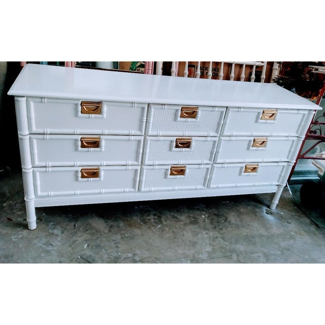 Gold Stanley Faux Bamboo Palm Beach Regency White Gloss Campaign Style 9 Drawer Dresser For Sale - Image 8 of 9