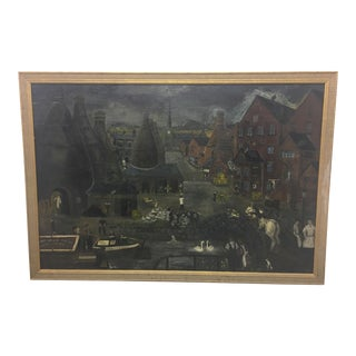 1910 Vintage English Oil Painting Scene For Sale