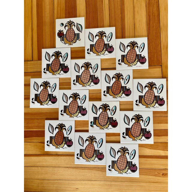White Mid Century Modern Signed Georges Briard Porcelain Tiles - Set of 13 For Sale - Image 8 of 9