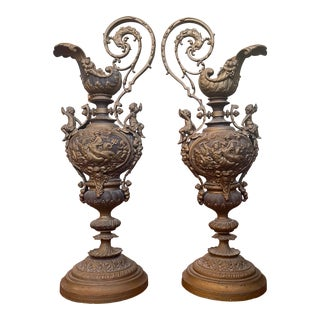 Vintage Rococo Style Mixed Metal Brass and Iron Urn/Ewer/Vessels - a Pair For Sale