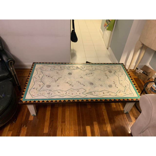 Richard Kooyman (artist) Large Wood Hieroglyphic Multicolored Coffee Table. One-of-a-kind. Handmade by the artist....
