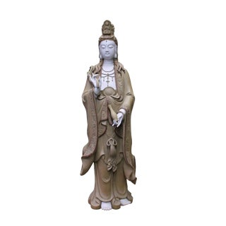 Chinese Handmade Ceramic Standing Bottle Holding Kwan Yin Statue For Sale